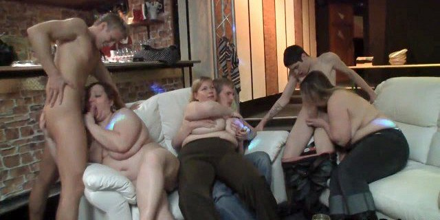 Sexy chubby party girl rides on the couch