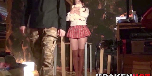 Sweet schoolgirl in a BDSM video, submission scene