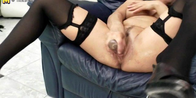 Naughty housewife mother riding her dildo