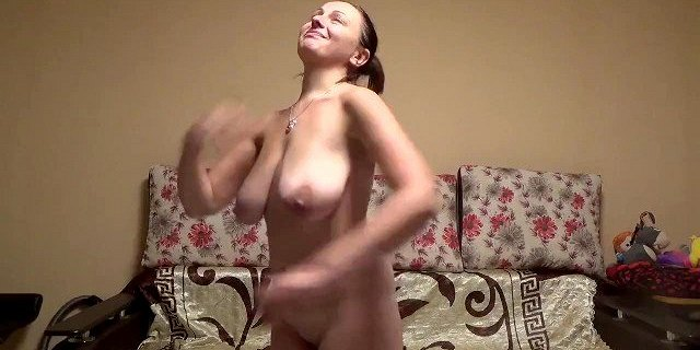 Stupid slut stretches her ugly saggy tits hard