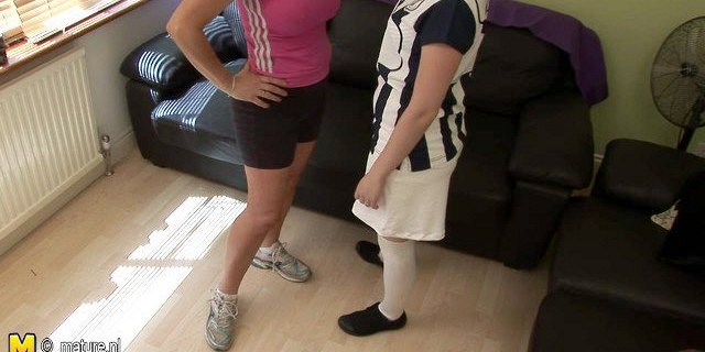 Lesbian domination with old mother