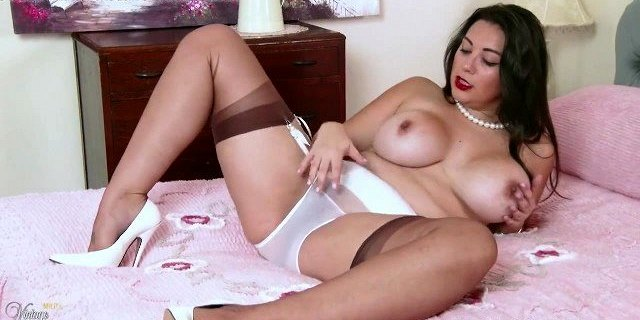 Buxom brunette wanks after her white nylon panties come off