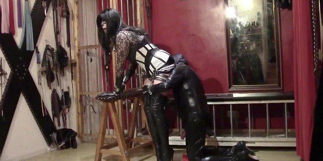 High boots and spandex slave