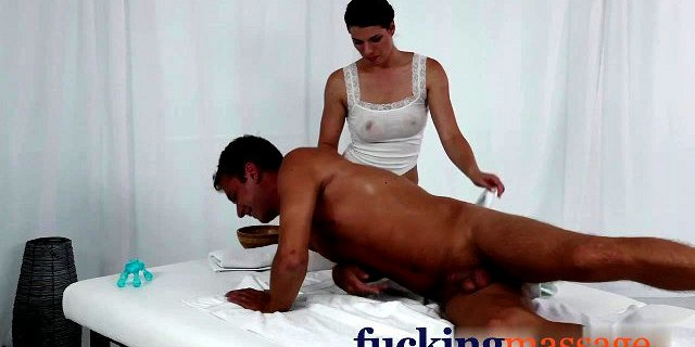 Massage Rooms Young girl has big boobs covered in hot cum af