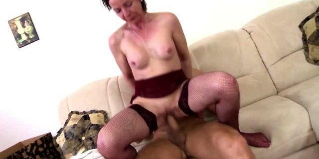 Skinny granny suck and fuck young boy
