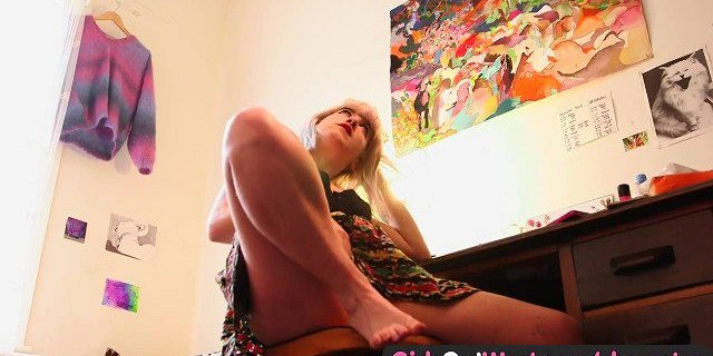 Girls Out West - Hairy Australian blonde toys her furry hole