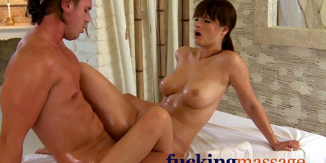Massage Rooms Brunette babes have tight pussies stretched