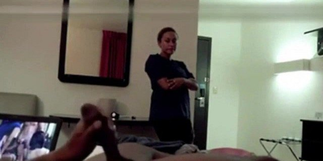 Hotel Maid Catches Him Jerking and Watches Him Cum