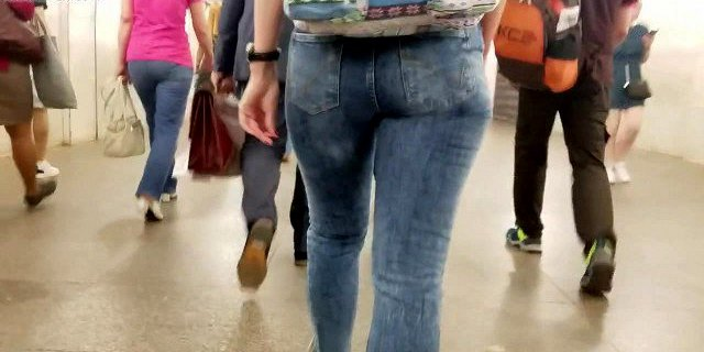 Meaty ass in tight jeans