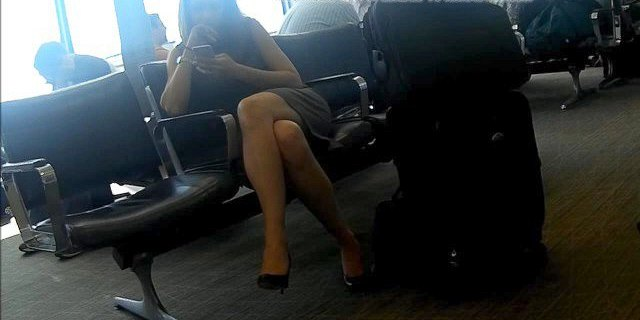 Candid Sexy Crossed legs and Feet in Heels at Airport