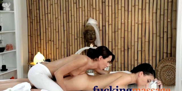 Massage Rooms Young lesbians get oiled and wet