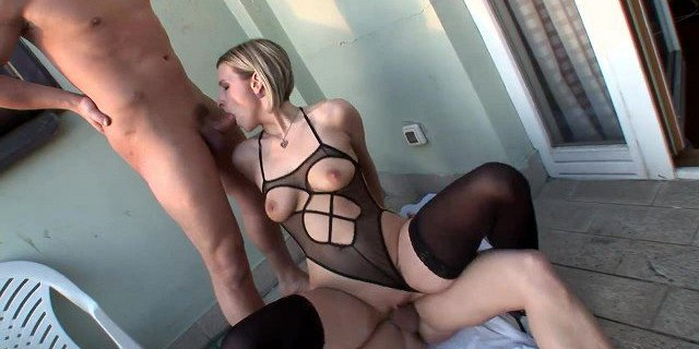 Sexy Bisexual Threesome with Blonde in Sheer Stockings!