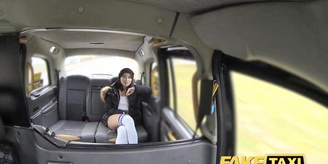 Fake Taxi knee high socks beauty with no knickers takes it a