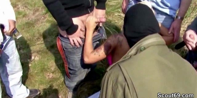 German SEXY CORA in Privat Gangbang outdoor with 14 old mens