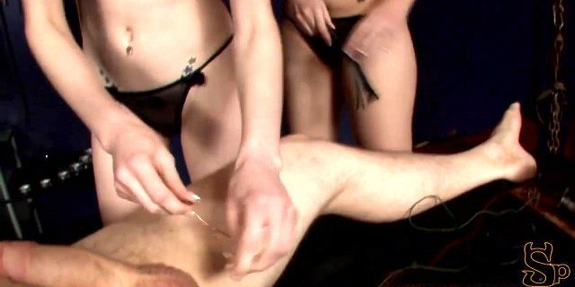 CBT dommes in training cock and ball torture