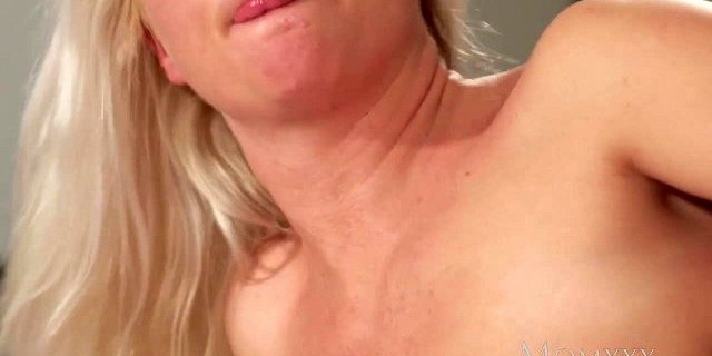 MOM Blonde MILF in stockings and lingerie deepthroats