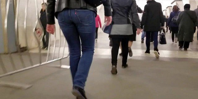 Girl in leather jacket with nice ass
