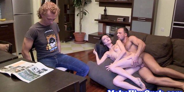 Smalltitted beauty cuckolds her cheating bf