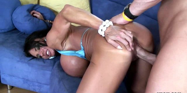 Brunette Milf with huge fake tits enjoys the rough drilling