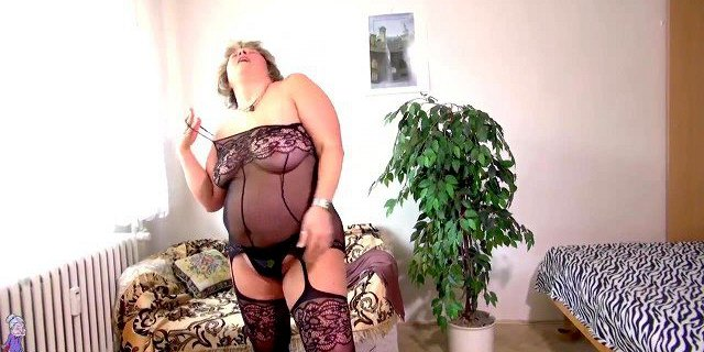 OldNanny Old and young lesbian woman is playing with strapon