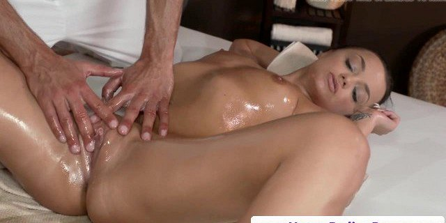 Classy massage babe pounded by masseur