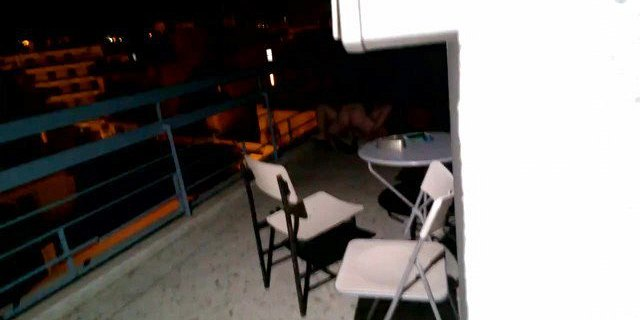 Real voyeur: Couple fucking loud on balcony in athens hostel