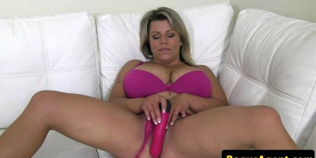 Busty blonde euro toys pussy before fucking