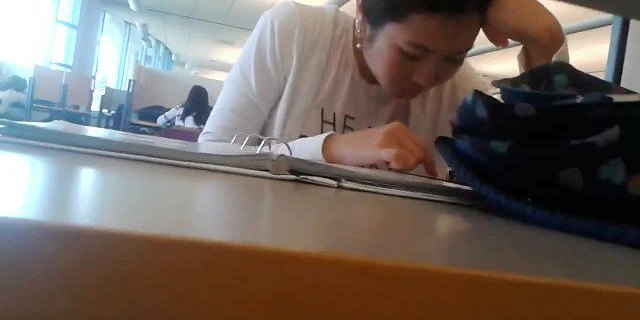 Candid Asian Teen Library Feet in Sandals Face HD