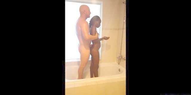 Black Teen and Ginger Man Interracial Shower