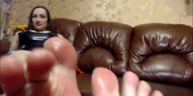 footjob in gas mask