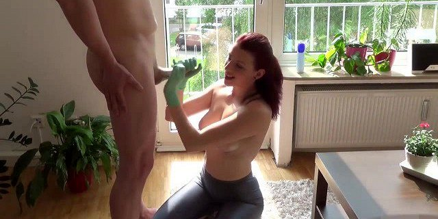Latex-Gloved Redhead Handjob In The Afternoon